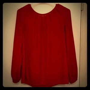 Beautiful Red Blouse with Button & Keyhole details